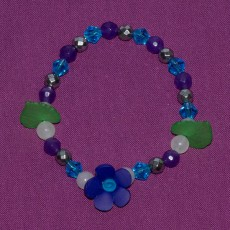 Navy Blue Flower Bracelet