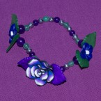 Multi-Colour Clay Rose With Purple Leaves Bracelet
