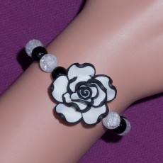 White And Black Clay Rose Bracelet