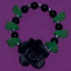 Black Clay Rose With Green Leaves Bracelet
