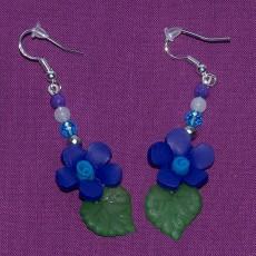 Navy Blue Flower Earrings